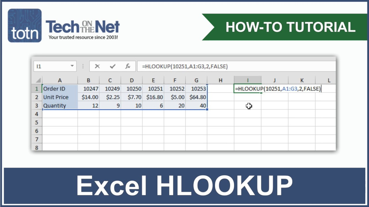 How to use the HLOOKUP function in Excel