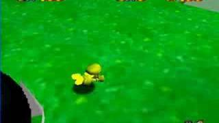 Super Mario 64 Completely Golden Mario Test Driving
