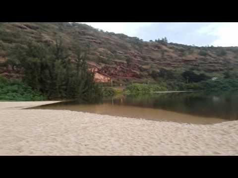 River Into ocean Waimea Bay Hawaii continuous wave