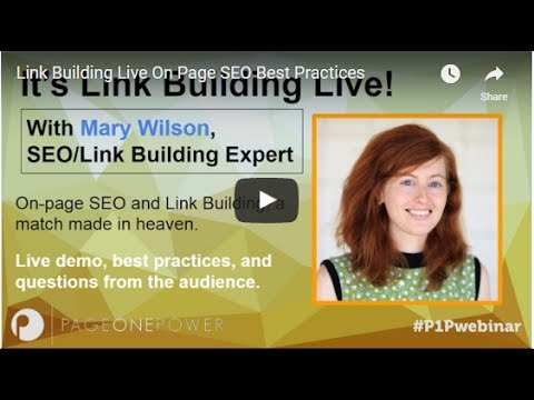 Link Building Live  On Page SEO Best Practices