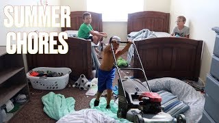 GETTING KIDS TO DO SUMMER CHORES | CLEANING BEDROOMS, DISHES, CARS, MOWING LAWN | KIDS SUMMER CHORES