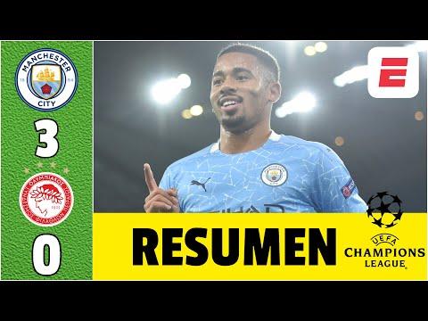 Manchester City 3-0 Olympiakos. Goles Ferran Torres, Gabriel Jesus y Joao Cancelo   Champions League