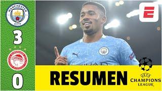 Manchester City 3-0 Olympiakos. Goles Ferran Torres, Gabriel Jesus y Joao Cancelo | Champions League