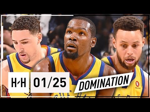 Stephen Curry, Kevin Durant & Klay Thompson BIG 3 Highlights vs Timberwolves (2018.01.25) - STRONG!