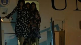 Raw: Michelle Obama, Daughters Land in Morocco