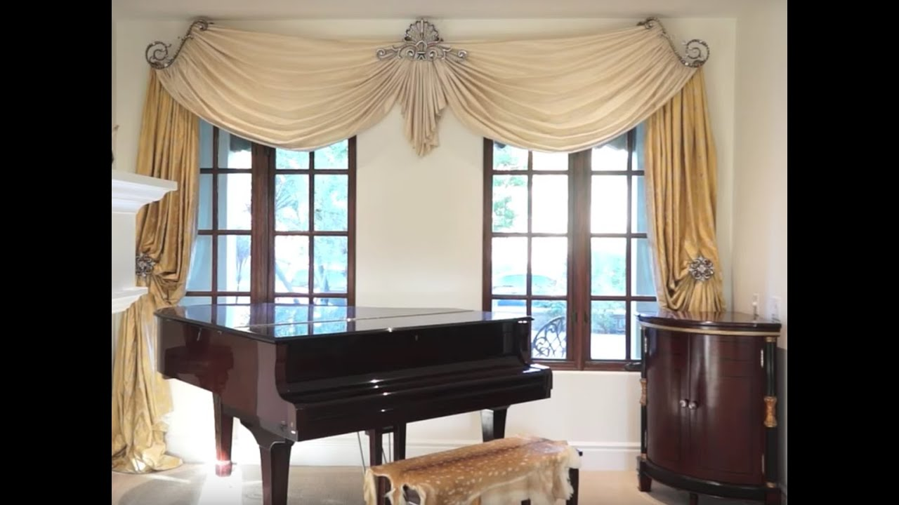 Creative Window Treatments With Swags Panels and Swarovski