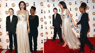 Angelina Jolie Takes Daughter Shiloh & Zahara For a Red Carpet at Los Angeles