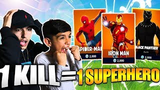 1 KILL = 1 SUPERHERO For 10 Year Old Little Brother! Fortnite Season 4 Battle Pass Challenge!