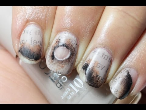 Burned Newspaper Nail Art