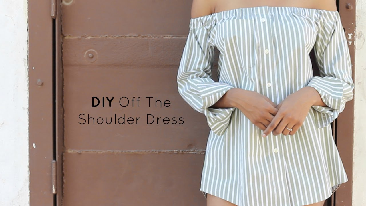 18ac77c2f27732 DIY Off The Shoulder Dress | Button Down Shirt Transformation ...