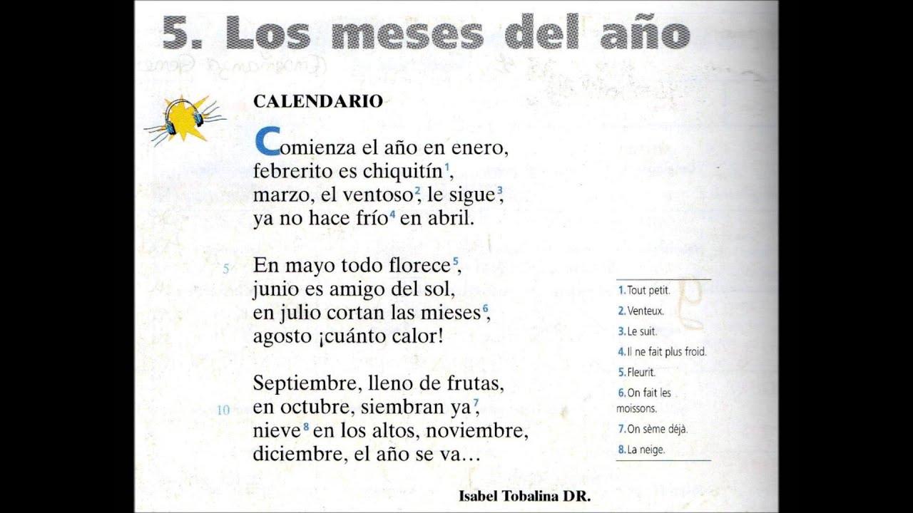 Calendario Poema Los Meses Del Año