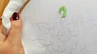№ 2 - вышивка гладью, часть 2. Вышиваем внешний ряд листика.