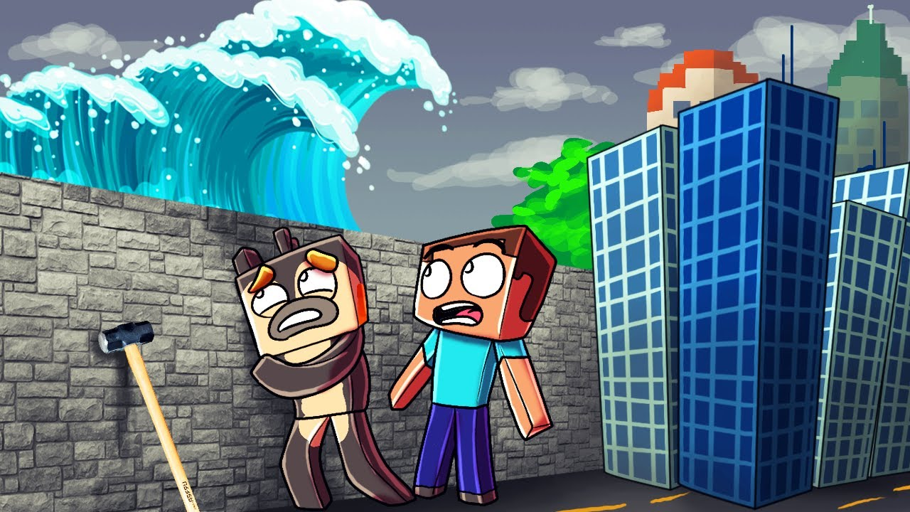 Minecraft TSUNAMI BASE CHALLENGE Tsunami Destroys City Wall - Minecraft tsunami spiele