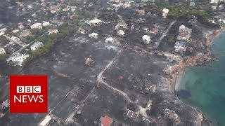 Greece wildfires: Aerial view of destruction - BBC News
