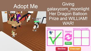 Download lagu Adopt Me   Giving galaxycorn_moonlight Her Dragon Balloon Prize and WILLIAM! WAR!   Roblox