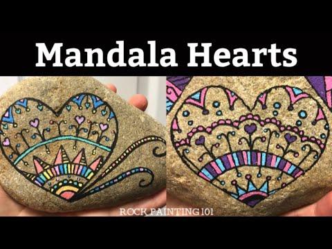 Mandala Heart Painted Rock