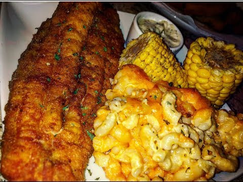 Sunday Dinner With Fried Catfish, Macaroni And Cheese, And Corn On The Cob
