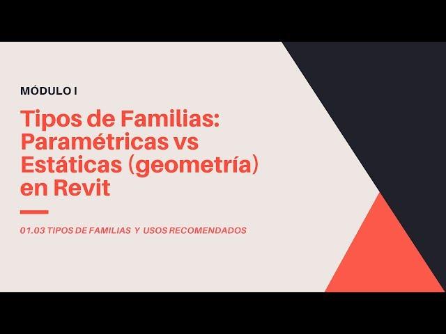 Familias en Revit 2020 | 03 02 Tipos de Familias: Paramétricas vs Estáticas (geometría) en Revit