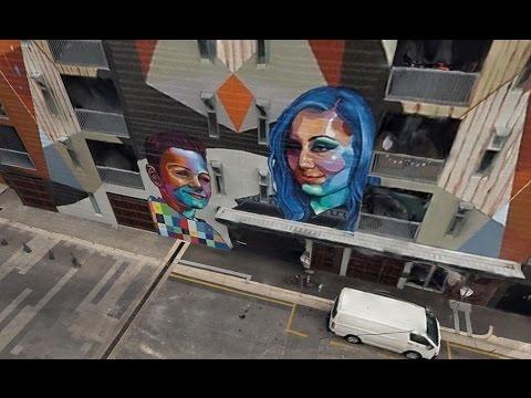 Adelaide 3D city model 2016 - Street art fly-through- aero3D