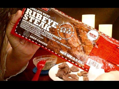 Dollar Tree, Stampede Boneless Beef Ribeye Steak Review, Info ( I eat it all) ASMR Whispers, Eating