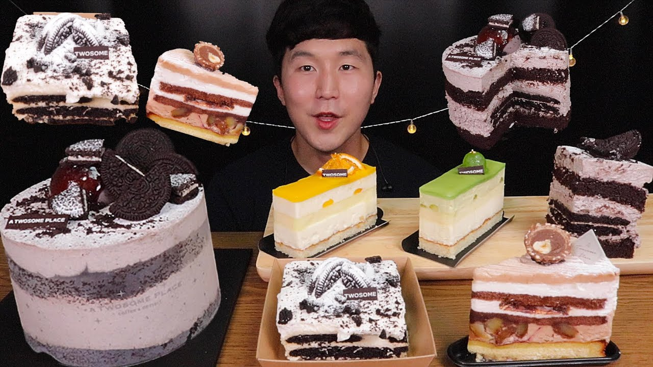 [SUB]투썸 플레이스 쿠키앤크림 홀케이크 & 조각케이크 먹방(Mont Blanc Cake, Mousse Cake, Cookie and Cream Whole Cake)MUKBANG