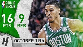 Jasyon Tatum Full Highlights Celtics vs Raptors 2018.10.19 - 16 Points, 9 Reb