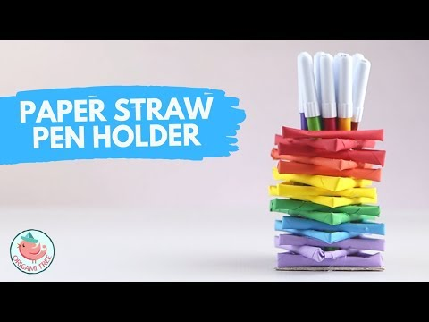 Recycling & Paper Straw Crafts - Paper Straw Pen Holder Tutorial - Crafts for Adults