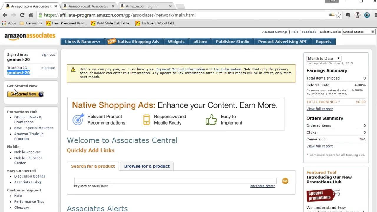 amazon affiliate account