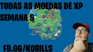 TODAS AS MOEDAS DE XP SEMANA 5 - FORTNITE - CAPÍTULO 2 - TEMPORADA 4