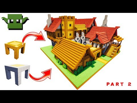 Minecraft Medieval Tavern Tutorial  #2/2 (EASY 5X5 BUILDING SYSTEM)