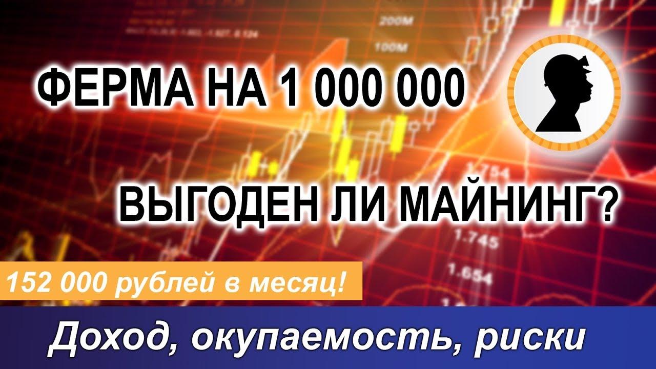 Выгоден ли майнинг? На примере фермы за 1 000 000 рублей! Доход, окупаемость, риски.