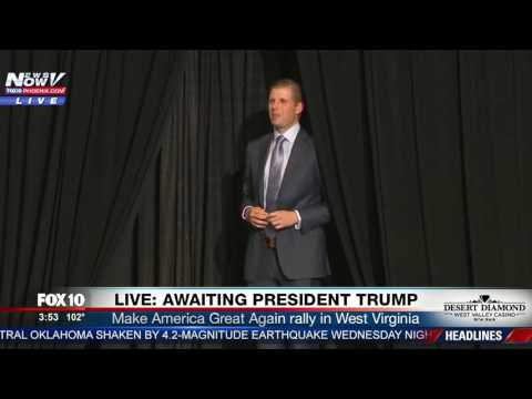 AWKWARD: Eric Trump Walks On Stage Too Early At President Trump's West Virginia Rally (FNN)