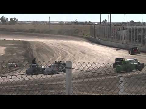 Dwarf Car Racing-Jeff Rivers ROLL OVER CRASH 10.06.13
