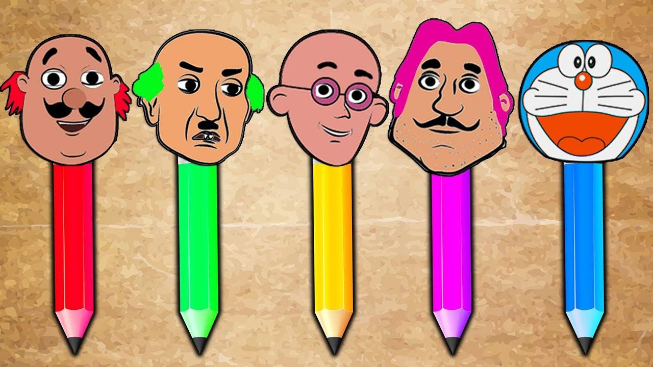 Heads family doraemon motu patlu chaiwala draw boxer pencil finger family song colors learn