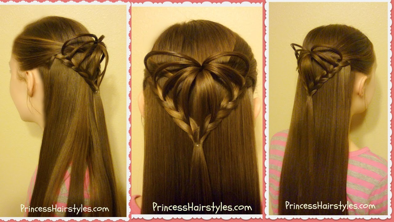 Half Up 3d Heart Hairstyle Valentines Hairstyles Youtube