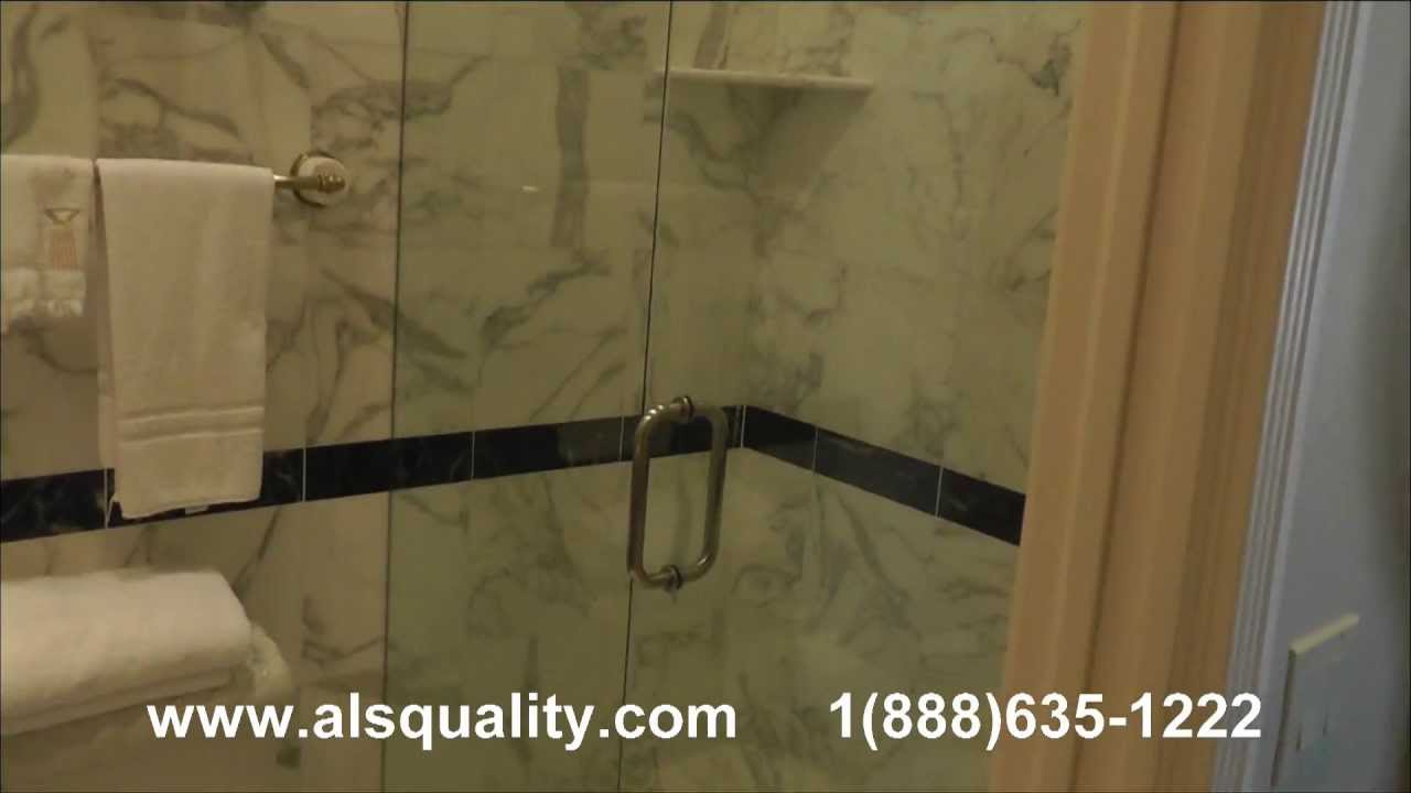 frameless glass shower door - YouTube