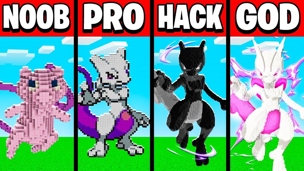 Minecraft NOOB vs PRO vs HACKER vs GOD MEWTWO Build Battle in Minecraft (Building Challenge)