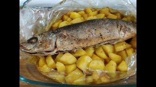 Рыбка в духовке - красноглазка с картофелем.