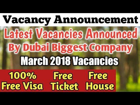 100% Free Visa   Direct Vacancy by Dubai Top Company   Dubai Jobs March 2018