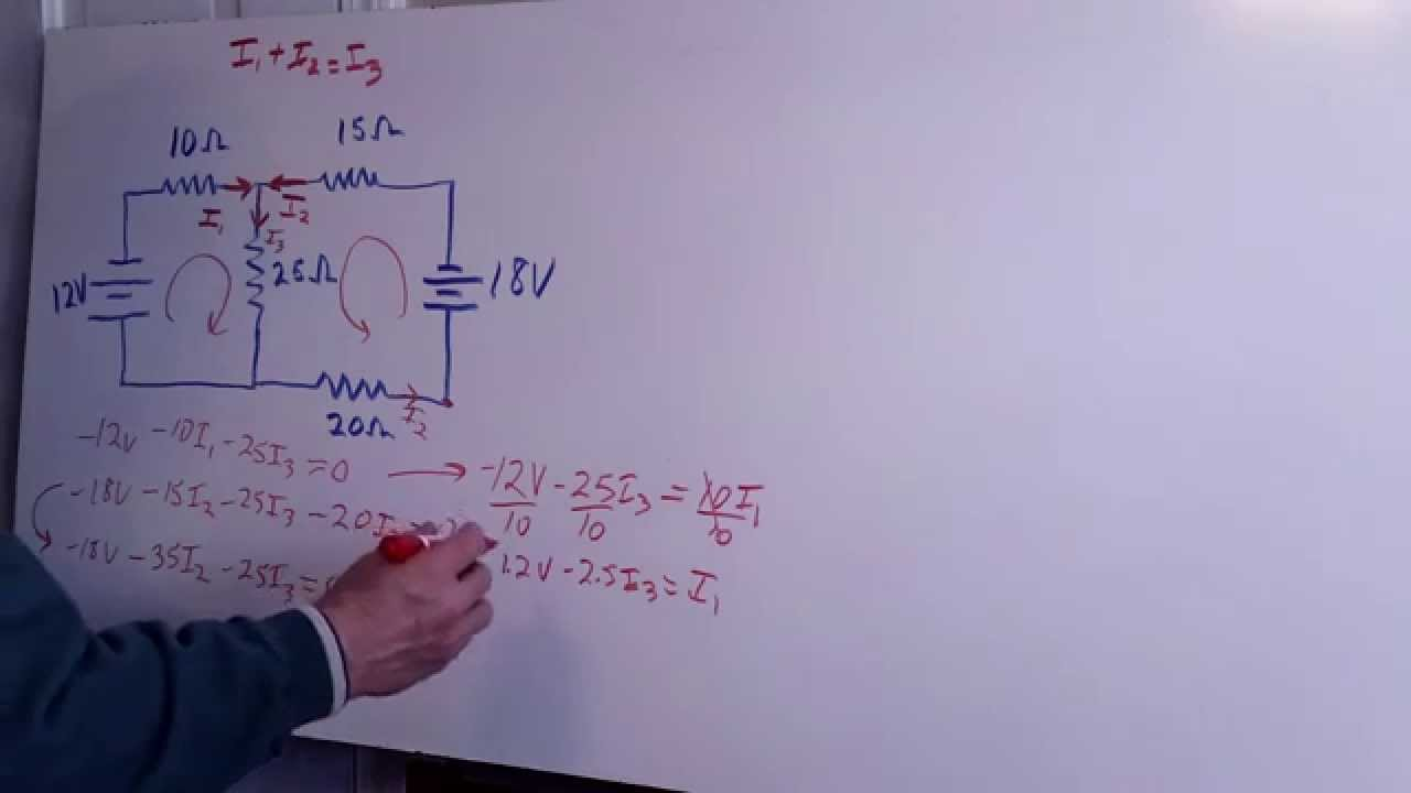 4 resistor 2 batteries circuit analyzed using kirchhoff s rules part rh youtube com