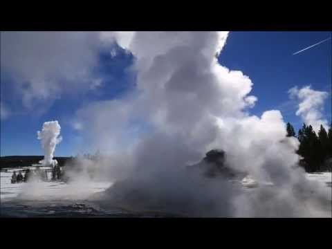 Old Faithful and Castle Geyser in Yellowstone National Park (1 hour relaxation)
