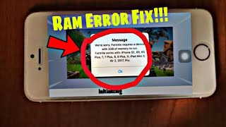 Fortnite iPhone 5s Ram Error Fix Now!!! Complete Guide 100% Working | Fix it Now!!!