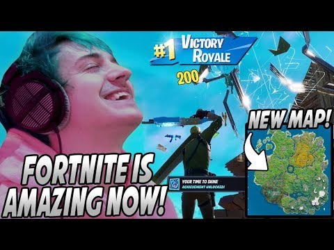 Ninja Plays & WINS His FIRST Game On The NEW Fortnite Chapter 2 Map! Game Breaking Bug?!