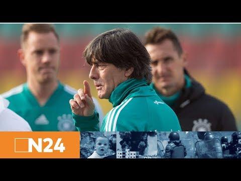 Vor England-Spiel: Pressekonferenz mit Bundestrainer Joachim Löw, Sami Khedira und Sandro Wagner