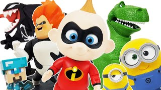 Incredibles Jack-Jack Go! Transformed into Minecraft Steve! Toy Story Rex, Venom, Minions, Playmobil