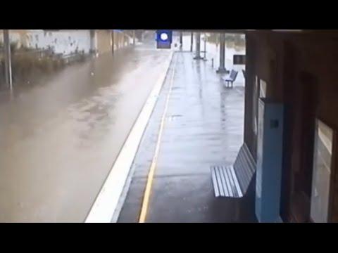 CCTV TIMELAPSE: Flood waters consume train tracks
