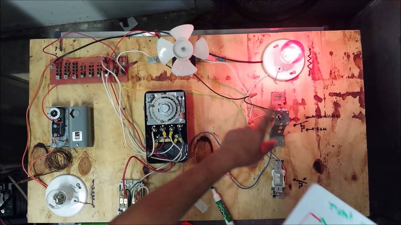 wiring diagram circuit ac lighted rocker switch freezer defrost timer live operation - youtube