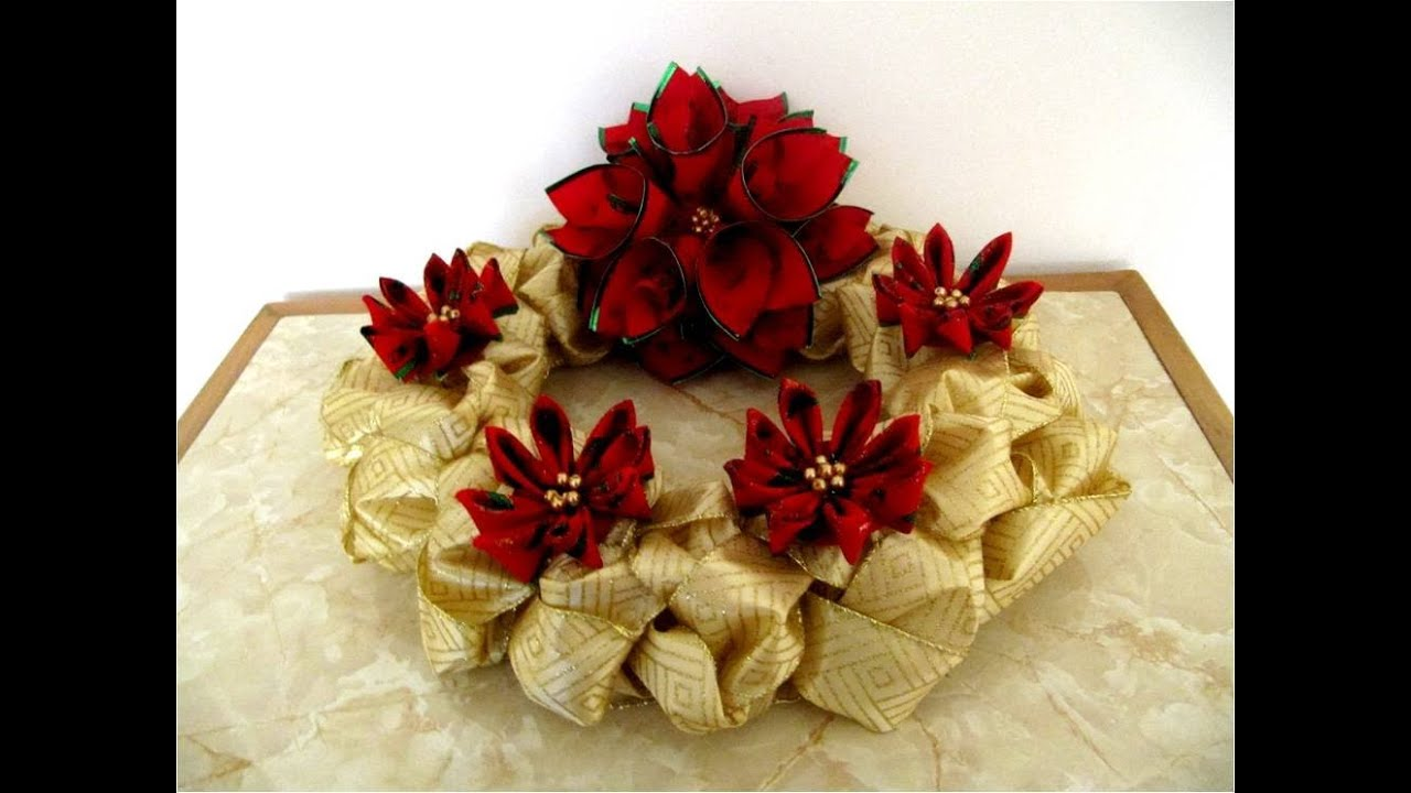 Corona navide a de adviento trenzada en cintas con mo os - Como hacer coronas de navidad ...