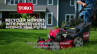 Self Propel in Reverse with Toro® PoweReverse® Mower, Dutch captions
