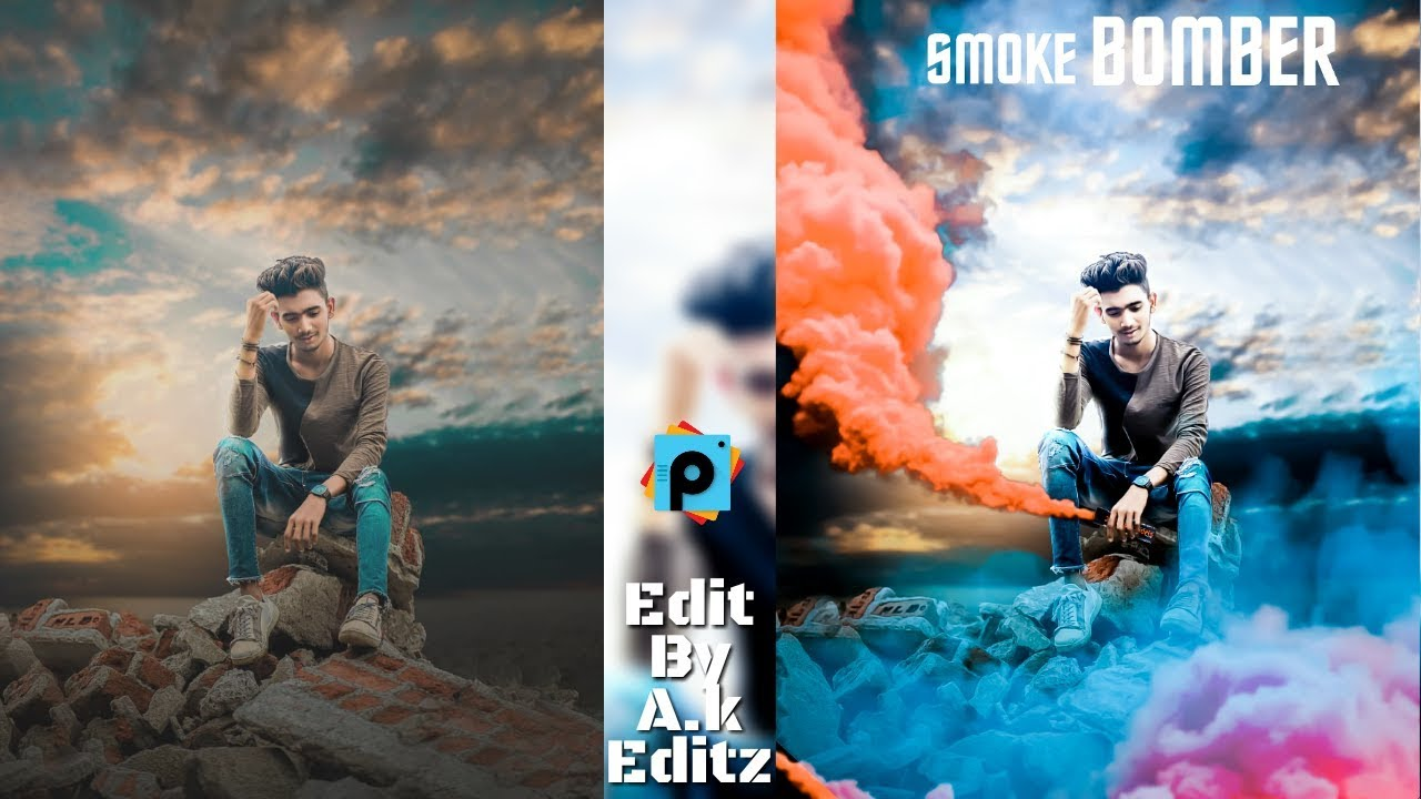 Smoke Bomb Editing, Picsart Manipulation Editing, Picsart Illusion Effect